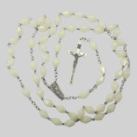 Art Deco Irish Silver Plated and Synthetic Marble Beads Rosary