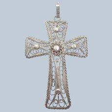 Silver Filigree Cross Pendant