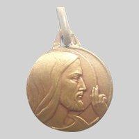 French Art Deco Gold Filled Jesus Medal
