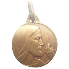 French Art Deco Gold Filled Jesus Medal