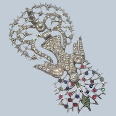 French 19C Silver and Pastes Holy Dove St Esprit Pendant