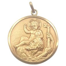 French Gold Plated St Christopher Medal Pendant- Georges Contaux