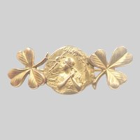 French Gold Filled Double Sided Clover Pin- FIX