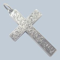 Victorian Engraved Sterling Silver Cross Pendant