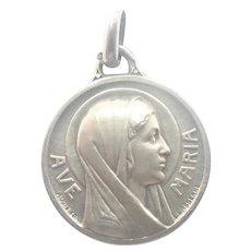French Art Deco Silver Mary Lourdes Medal - LASSERRE
