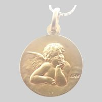 French Gold Filled Cherub ORIA Pendant and FIX Chain Necklace