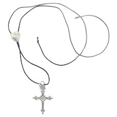 French Antique Silver Jeannette Cross and Slider Necklace