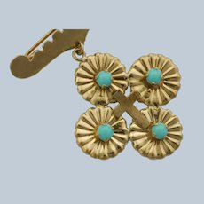Greek/Italian 14K Gold Baptismal Cross Pin