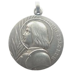 French Joan of Arc Silver Medal Pendant - PENIN