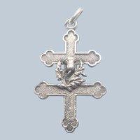 French Art Nouveau Silver Thistle Cross of Lorraine Pendant