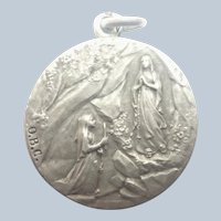 French Antique Silver Our Lady of Lourdes Medal Pendant  - TAIRAC