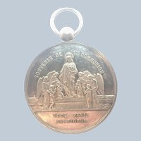 French 1880 Silver Communion Angels Medal - 17.8 grams