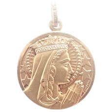 French Gold Filled Queen of Heaven Mary Medal -Murat /Tschudin