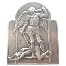 St Michael and Devil Silver Plated Medal - Fonson