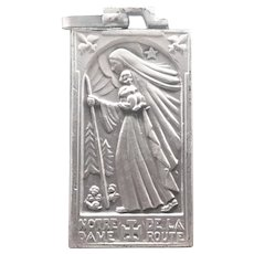 French Art Deco Silver Plated 'Our Lady of the Road' Medal