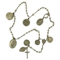 French Circa 1900 Silver Rosary with Medals - Unique!