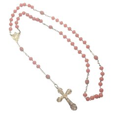 French Antique Gold Washed Silver and Coraline Glass Rosary