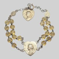 French Gold Washed Silver Mary Hearts Rosary Bracelet