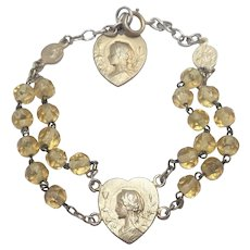 French Gold Washed Silver Mary Hearts  Dizainier Bracelet
