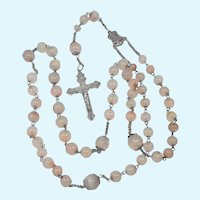 French Antique Silver and Natural Agate Rosary