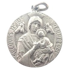 French Art Deco Silver Virgin and Child Medal - Charl