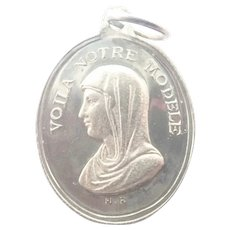 French Antique Silver Mary and  Guardian Angel Medal
