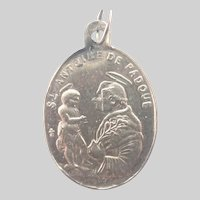 French Antique Silver St Anthony of Padua Guardian Angel Medal