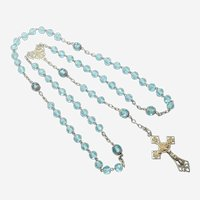French Antique Turquoise Glass and Silver Gilt Rosary