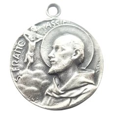 French St Francis of Assissi  Silver Plated Medal - CARIATI