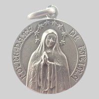 French Silver Our Lady of Fatima Medal - R Camus