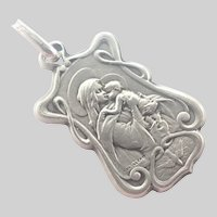 French Art Nouveau Silver Virgin and Child Medal/Charm
