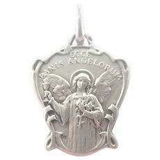 French Art Nouveau Silver Bread of Angels Medal Charm