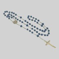 French Art Deco Gold Plated and Lapis Rosary