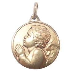 French Gold over Copper Cherub Medal - Contaux