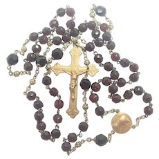 French Antique Silver Gilt and Garnet Glass Rosary