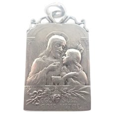 French Antique Silver Communion Medal - F Lasserre