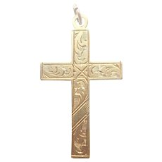 English Antique 9k Gold on Silver Engraved Cross