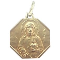 French Art Deco Gold Filled 'FIX' Jesus and Mary Medal
