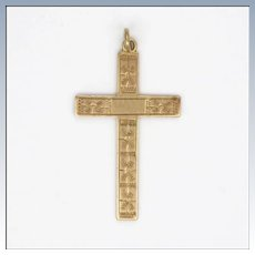 Victorian 9K Rose Gold Engraved Cross Pendant or Charm