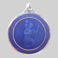French Enamel and Silvertone Metal St Christopher Medal