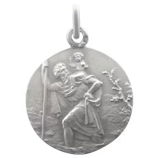French Art Deco Silver St Christopher Medal - BOUIX