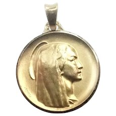 French 18K Gold and Silver Virgin Mary Medal - MONIER