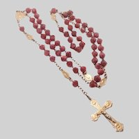 French Art Nouveau Silver Gilt and Pink Agate Glass Rosary