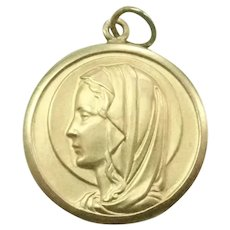 French Gold Filled Virgin Mary Medal - Murat Contaux