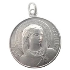 French Antique Silver Ave Maria Medal or Charm