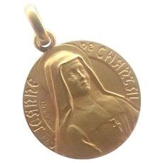 French Gold Filled St Jeanne de Chantal Medal - CHARL