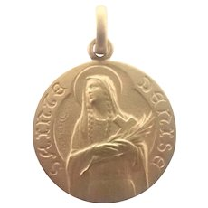 French Art Deco Gold Filled St Denise Medal