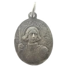 French  Joan of Arc and St. Anne Double Sided Silver Medal