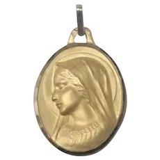 French 9K Gold Virgin Mary Medal