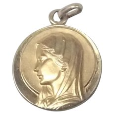 French Gold Filled Mary Medal or Charm - MURAT